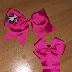 Other - Cheer and Dance pink Set bow and Clippie